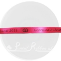 10mm personalised wedding ribbon fuchsia with bespoke print.