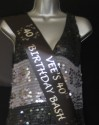 Black satin sash with personalised message for 40th Birthday