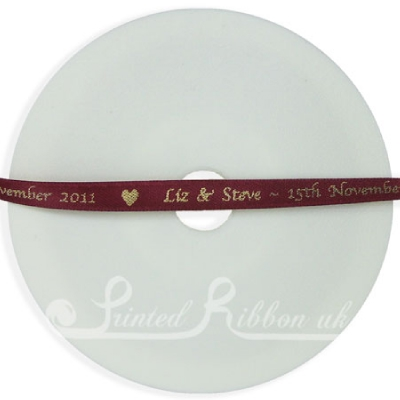PW7BURG25M BURGUNDY 7mm Personalised Printed wedding ribbon - 25m roll double faced satin ribbon for wedding favour gifts and favours