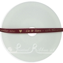 7mm burgundy personalised wedding ribbon 25m