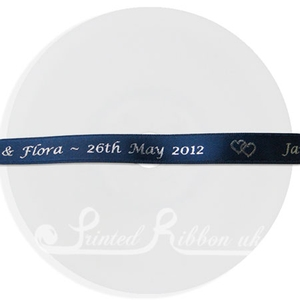 PW10NBLU25M NAVY BLUE 10mm Personalised Printed wedding ribbon - 25m roll double faced satin ribbon for wedding favour gifts and favours