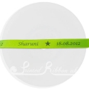10mm Lime green wedding ribbon printed with personalised bespoke message. 25m roll