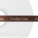 15mm wide chocolate brown custom printed satin ribbon 50m roll