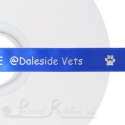 50m roll royal blue personalised custom printed corporate satin ribbon 15mm wide