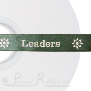 PR15SAGE50M SAGE/OLIVE GREEN 15mm Personalised Printed Satin Ribbon - 50m Roll