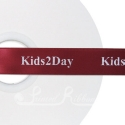 25mm burgundy or claret bespoke custom printed corporate or printed message ribbon double faced satin 50m roll