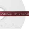 15mm personalised printed burgundy ribbon 50m
