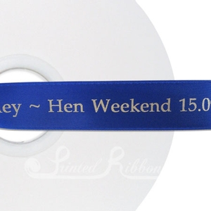 PR25RBLU50M ROYAL BLUE 25mm Personalised Printed Satin Ribbon - 50m Roll