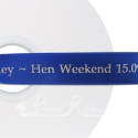 50m royal blue printed ribbon Roll of Personalised, Custom Printed 25mm Wide ROYAL BLUE Double Faced Satin Ribbon - choose your print colour
