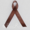 BROWN plain satin woven awareness / cause / charity ribbon and pin attachment
