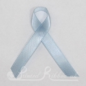 Pale Blue / Light Blue plain satin woven awareness / cause ribbon / charity ribbon and pin attachment