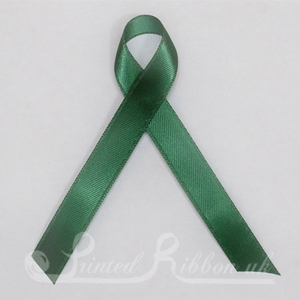 GREENPLARIBPIN Pack of 10 GREEN Plain d/f Satin Awareness ribbons with pin attached
