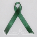 GREEN / DARK GREEN plain double faced satin woven awareness ribbon / cause ribbon / charity ribbon and pin attachment