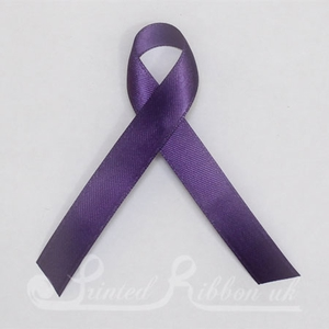 PURPLEPLARIBPIN Pack of 10 PURPLE Plain d/f Satin Awareness ribbons with pin attached