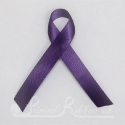 PURPLE plain double faced satin woven awareness ribbon / cause ribbon / charity ribbon and pin attachment