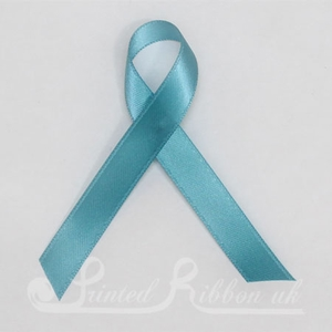 TEALPLARRIBPIN Pack of 10 TEAL / TURQUOISE Plain d/f Satin Awareness ribbons with pin attached