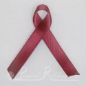 BURGUNDY plain double faced satin woven awareness ribbon / cause ribbon / charity ribbon and pin attachment
