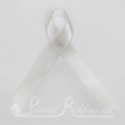 PEARL / IVORY plain double faced satin woven awareness ribbon / cause ribbon / charity ribbon and pin attachment