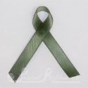 OLIVE GREEN  plain double faced satin woven awareness ribbon / cause ribbon / charity ribbon and pin attachment