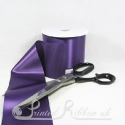 100mm 4 inches purple single faced plain satin by metre