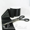 100mm 4inch wide plain black single faced satin ribbon by the metre