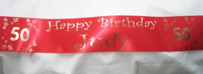 SAPBREDAGE501M 1m Bespoke, Personalised RED Satin Ribbon 50th Birthday Banner 100mm wide - Print your own message