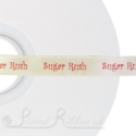 15mm cream custom printed ribbon bespoke personalised CREAM printed satin ribbon with logo 50m roll