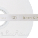15mm personalised printed Ivory ribbon custom printed satin ribbon Ivory 50 metre roll