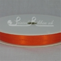 7mm bright orange satin ribbon, 10mm bright orange double faced satin ribbon, plain ribbon