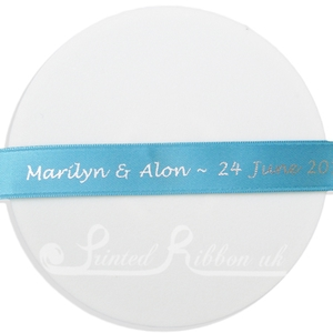 PR15TURQ25M AQUA / TURQUOISE / TEAL 15mm Personalised Printed Satin Ribbon - 25m Roll