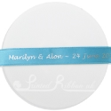 15mm aqua/turquoise satin printed ribbon, personalised printed ribbon, bespoke ribbon 25m roll