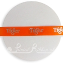 15mm bright orange satin printed ribbon, personalised printed ribbon, bespoke ribbon 25m roll