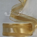 38mm Gold organza satin stripe ribbon
