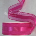 38mm Fuchsia organza satin stripr ribbon