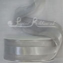38mm Silver organza satin stripe ribbon