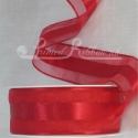 38mm Bright red organza satin stripe ribbon