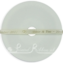 7mm cream printed wedding ribbon 25m
