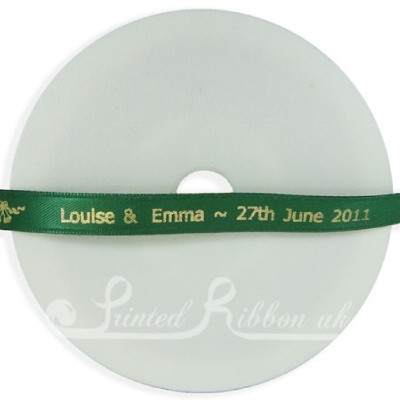 PW7DGRN25M DARK GREEN 7mm Personalised Printed wedding ribbon - 25m roll double faced satin ribbon for wedding favour gifts and favours