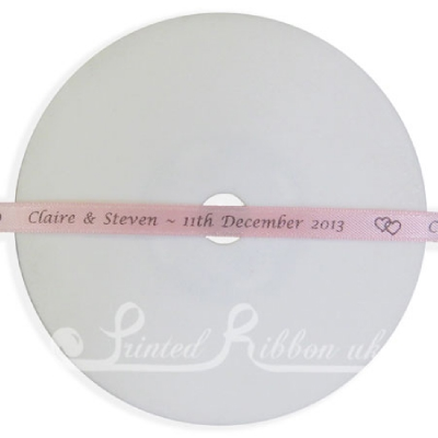PW7LPNK25M LIGHT PINK 7mm Personalised Printed wedding ribbon - 25m roll double faced satin ribbon for wedding favour gifts and favours