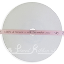 7mm pale pink, baby pink printed wedding ribbon 25m roll