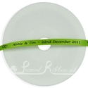 7mm lime green printed wedding ribbon,  25m