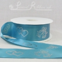 50m roll of Personalised, Printed 50mm wide TURQUOISE / AQUA / TEAL double faced (d/f) Satin Ribbon