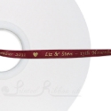 50m roll of BURGUNDY Personalised Printed Custom Satin Ribbon for Wedding favour gifts