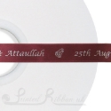 15mm BURGUNDY wedding ribbon printed with bespoke message