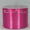 100mm wide (4 inch) Fuchsia Shocking Pink satin ribbon 50metre roll