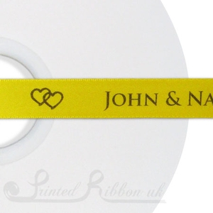 PR15SYEL50M SUNFLOWER YELLOW 15mm Personalised Printed Satin Ribbon - 50m Roll