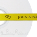 50m roll sunflower yellow / Bright yellow printed ribbon double faced satin bespoke ribbon