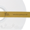 50M Roll of Personalised bespoke printed 15mm wide BRONZE Double Faced (d/f) Satin Printed Ribbon