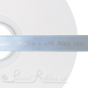 50M Roll of Personalised light blue bespoke printed 15mm wide LIGHT BLUE / DENIM BLUE Double Faced (d/f) Satin Printed Ribbon
