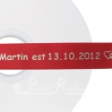 50m Roll of Personalised, Custom Printed 25mm Wide BRIGHT RED Double Faced Satin Ribbon - choose your print colour